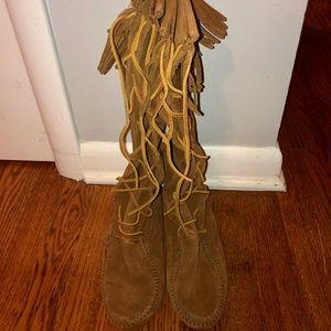 Minnetonka Suede Fringe Lace-Up Boots